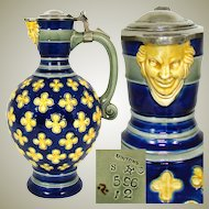 Antique Minton 1873 Majolica 40oz Pitcher, Jug, Cobalt & Yellow, Figural Mascaron Spout