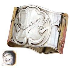 "Antique French Sterling Silver Napkin Ring, Ornate Art Nouveau Style Pattern, ""Christiane"" Inscription"