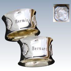 """Lovely Antique French Sterling Silver Napkin Ring PAIR, Seashell Accents, """"Hermine"""" & """"Bernard"""" Inscriptions"""