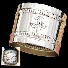 """Antique French Sterling Silver 2"""" Napkin Ring, Bead Festooned Bands, AF (?) Monogram"""