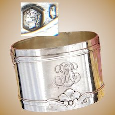 """Antique French Sterling Silver Napkin Ring, Aesthetic Style Seashell or Foliate Belts or Bands, """"FC"""" Monogram"""