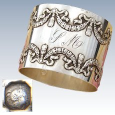 "Antique French Sterling Silver 2"" Napkin Ring, Elegant French Ribbon & Laurel Garland Pattern"
