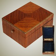 Antique French Napoleon III Pocket Watch or Jewelry Casket, a Lovely Kingwood Marquetry Box