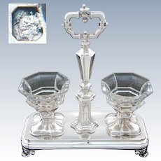 Elegant Antique French Sterling Silver Double Open Salt or Sweetmeat Caddy