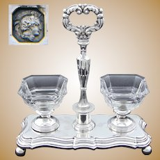 Elegant Antique Louis Philippe Era French Sterling Silver Double Open Salt or Sweetmeat Caddy