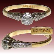 Lovely Vintage 18k Yellow & White Gold, White Sapphire or Diamond Ring, Size 5.5