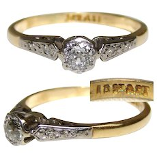 Lovely Vintage 18k Yellow & White Gold, White Sapphire or Diamond Ring, Size 5.5