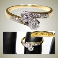 Fine Vintage 18k Yellow Gold & Platinum Ring, White Sapphires or Diamonds, Size 5.5