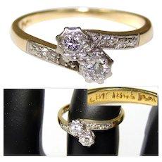 Fine Vintage 18k Yellow Gold & Platinum Ring, White Sapphires or Diamonds, Size 5.5