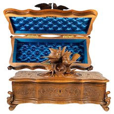 Superb Antique HC Wood Black Forest Jewelry, Gloves Box, Casket, Birds & Nest