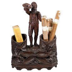 Antique HC Wood Black Forest Cigar and Match Stand, Figural Gent with Hat