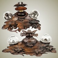 Antique HC Wood Black Forest Inkwell Stand, Desk Caddy, Birds, Acorns c.1880
