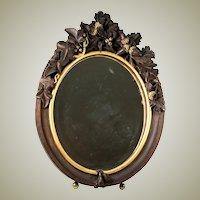 "Antique HC Wood, Superb 13"" Tall Black Forest Frame Vanity Mirror, Stand. Acorns"