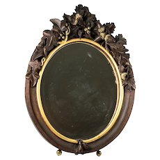 "Antique HC Wood, Superb 13"" Tall Black Forest Frame Vanity Mirror, Stand. Acorns"