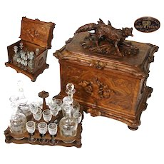 "Huge Antique Black Forest 16"" Liquor Tantalus, Cabinet, Animalier FOX Figure, 18pc Glassware"