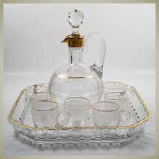 Antique French Liqueur Service Set, Tray, Decanter and 7 Cordial Cups, Engraved