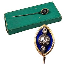 Antique French Cravat or Tie Pin, 10K Gold, 3 Diamonds, Enamel in Box, c. 1790-1830, Georgian