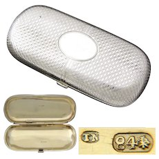 Antique Russian Hallmarked .875 (nearly sterling) Silver Cigarette or Cheroot Case,  Theodor Nugren, Silversmith