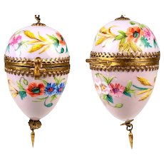 "Lovely Antique French Chatelaine Style HP Porcelain ""Egg"" Casket, Etui, Gilt Chain & Finger Ring"