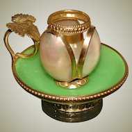 Rare Antique French Napoleon III Green Opaline, Mother of Pearl & Ormolu Chamberstick
