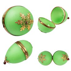 "Lovely antique French Napoleon III Green Opaline Glass ""Egg"" Casket, Chatelaine Style Etui"