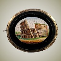 "Antique Victorian Grand Tour Micro Mosaic Brooch, 1.75"", The Coliseum in Rome, Excellent"