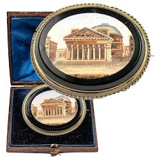 Mid-1800s Victorian Era Micromosaic Brooch, in Box, Pantheon in Rome, Micro Mosaic, Grand Tour