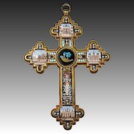 Antique Grand Tour Micro Mosaic Crucifix, 4 Views of Rome, St. Peters, Micromosaic
