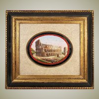 Antique Italian Micromosaic Plaque, Paperweight, Large, In Frame, Rome Coliseum