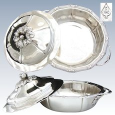 Elegant Antique French ODIOT Sterling Silver Ecuelle or Covered Serving Dish, Original Lid