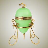 "Antique French Opaline ""Egg"" Trinket or Jewelry, Perfume Box, Casket, Palais Royal"