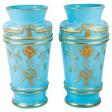 "Pair (2) Antique French Opaline Glass 8"" Tall Vases, Raised Enamel Jewels, Gold Trim"