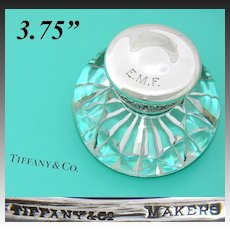 "Antique Tiffany & Co. Sterling Silver & Cut Crystal or Glass 3.75""  Inkwell, Facet Cut Base"