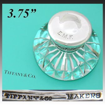 """Antique Tiffany & Co. Sterling Silver & Cut Crystal or Glass 3.75""""  Inkwell, Facet Cut Base"""