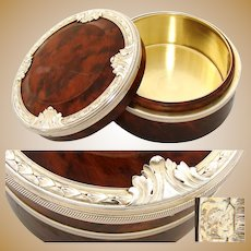 "Antique French Sterling Silver & Richly Burled Hardwood 4"" Vanity Jar or Table Snuff, Casket"