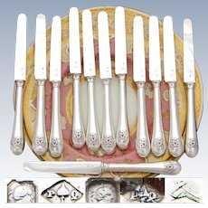 "Antique French Sterling Silver 12pc 8"" Knife Set, Sterling Blades, Unique Monogram Overlay"