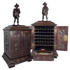 """Antique HC Black Forest 18"""" Tall Cigar Chest, Figural, Holds 42 Cigars, Tools"""