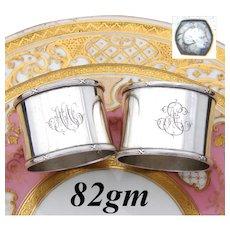 """Elegant Antique French 800 (nearly sterling) Silver 2"""" Napkin Ring PAIR, Ribbon Borders"""