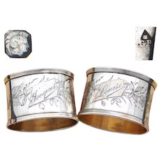 """Antique French Sterling Silver 2"""" Napkin Ring PAIR, His & Her """"Jacques"""" & """"Louise"""", Floral Decoration"""