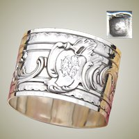 """Heavy Antique French Sterling Silver 2"""" Napkin Ring, Ornate Louis XV Style, """"OC"""" Monogram"""