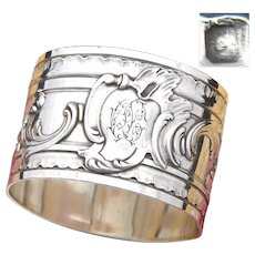 "Heavy Antique French Sterling Silver 2"" Napkin Ring, Ornate Louis XV Style, ""OC"" Monogram"