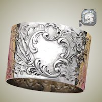 """Antique French Sterling Silver 2"""" Napkin Ring, Louis XV or Rococo Style, Floral & Foliate"""