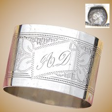 """Antique French .800 Silver Napkin Ring, Guilloche Style Decoration, """"A.D."""" Monogram"""