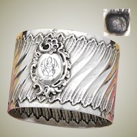 """Antique French Sterling Silver Napkin Ring, Louis XV or Rococo Pattern, """"GV"""" Monogram"""