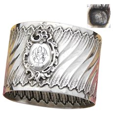 "Antique French Sterling Silver Napkin Ring, Louis XV or Rococo Pattern, ""GV"" Monogram"