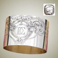 "Fab Antique French Empire Style 2"" Napkin Ring, Cornucopia & Torches, ""DC"" Monogram"