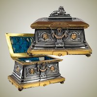 "Superb 19th c. French Bronze Jewelry Box, 8"" Casket, Foundry & Sculptor Léopold OUDRY, PARIS"