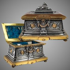 """Superb 19th c. French Bronze Jewelry Box, 8"""" Casket, Foundry & Sculptor Léopold OUDRY, PARIS"""