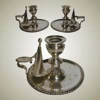 1800s Victorian Silver Plate Candle Holder, Chamberstick PAIR w/ Snuffers