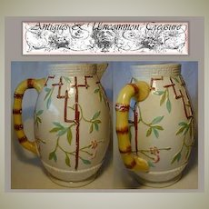 Rare Antique 19c Newhall Majolica Water Pitcher, Chinoiserie Oriental Influence